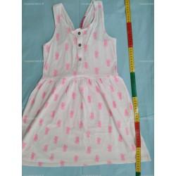 Robe sans manche, blanche avec motif rose, 8 ans (NKY)
