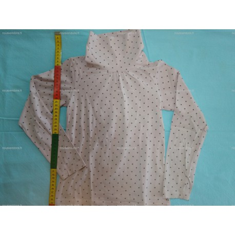 T-Shirt Manches Longues avec Col roulé, rose à pois, 8ans (NKY)