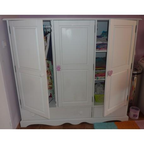 Armoire blanche pin massif 3 portes