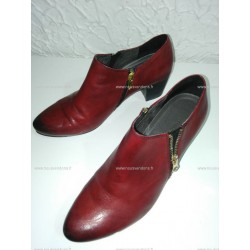 Low boots cuir rouge